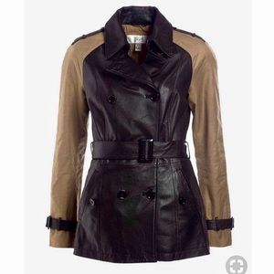 DANIER Leather Army Green Belted Jacket XS - Small